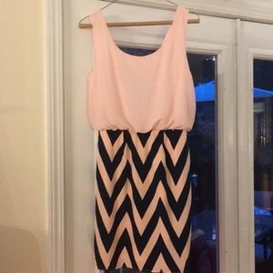 Pink Owl chevron dress